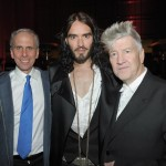 (L-R) Vice President of the David Lynch Foundation Bob Roth actor/comedian Russell Brand and Director/musician and forunder of DLF David Lynch